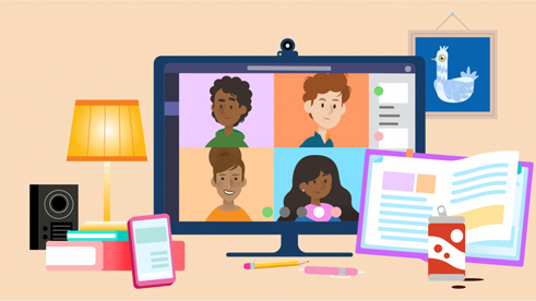 illustration of Microsoft Teams for remote learning